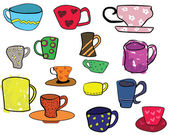 Collection of cups, freehand illustration — Stock Vector