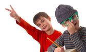 Funny schoolboys — Foto Stock