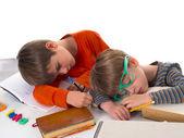 Lazy sleeping pupils, partly isolated, boring education — Stock Photo
