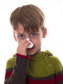 Boy wipes his nose — Stock Photo