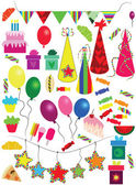 Various Holiday - New Year - Christmas - Birthday objects — Stock Vector