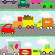 Various vehicles and toy cars on the road for children — Stock Vector