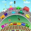 Trains, various vehicles and toy cars for children — Stok Vektör