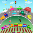 Trains, various vehicles and toy cars for children — Stock Vector