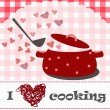 Stock Vector: I love cooking concept