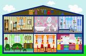 Cute house in a cut. vector illustration — Stock Vector
