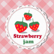 Strawberry jam, illustrated label — Stock Vector