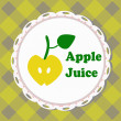 Apple juice, illustrated label — ストックベクタ