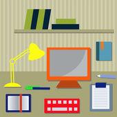 Workspace with computer — Vector de stock