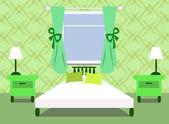 Camera da letto verde — Vettoriale Stock