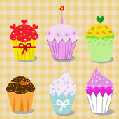 Collection of colorful, tasteful cupcakes — Stock Vector