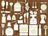 White kitchen utensils on the wooden background — Stock Vector