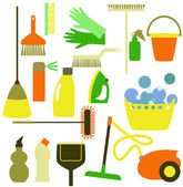 Cleaning tools on the white background — Stock Vector