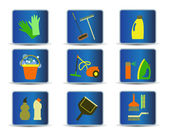 Cleaning tools icons — Stock Vector