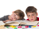 Tired schoolboys — Stock Photo