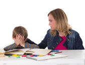Mother calms her son — Stock Photo