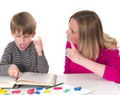 Young pupil dosn't want to learn, — Stock Photo