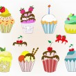 Ice-cream cupcakes  collection — Stock Vector #45928789