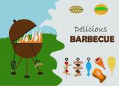 Barbecue invitation — Stock Vector