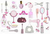 Female cosmetic, beauty items — Stock Vector