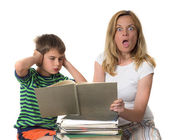 Angry mother trying to teach her son while he is confronting — Foto de Stock
