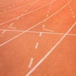 Постер, плакат: Athletics track lanes with white line