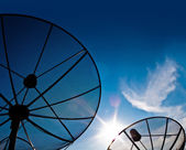 Satellite dish with blue sky and cloud — Stock Photo