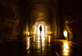 Light and human at End of Tunnel — Stock Photo