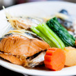Steamed Salmon in Soy Sauce japanese food — Stock Photo