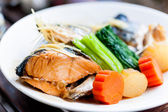 Steamed Salmon in Soy Sauce japanese food — Stockfoto