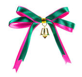 Gift bow ribbon with bell Holding on white background — 图库照片