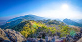 Landscape of high mountain with sun — Stock Photo