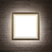 Frame on modern brick wall — 图库照片