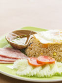 Fried rice and ham cheese Thai style — Stock Photo