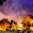 Phra Singh temple twilight time — Stock Photo