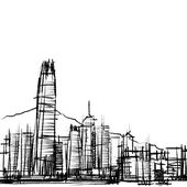 Office building at Hong Kong : sketchbook — Stock Vector