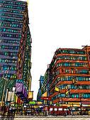 Hong Kong street lifestyle : sketchbook — Stock Vector