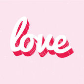 Red and white love lettering on pink background — Stok Vektör