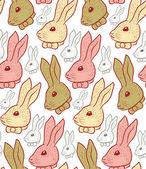 Vintage ruka králičí nakresleného vzor — Stock vektor