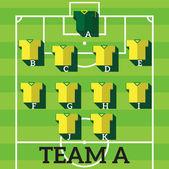 Soccer team,football players chart — Wektor stockowy