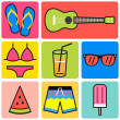 Colorful summer icon,go to the beach set — Stock Vector