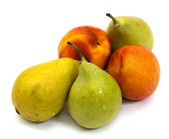 Two nectarines and three pears on a white — Stock Photo