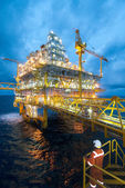 Oil and gas transfer platforms — Stock Photo