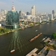 Aerial view of Bangkok with Chao Phraya river, Thailand. — Stock Photo