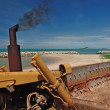 Repairing road and sea breaker in beach near ocean — Stock Photo