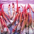 Pile of cribs and spider-crabs in a fish and seafood market — Stock Photo