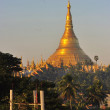 Shwedagon Pagoda Temple with village below in the morning light — Stock Photo #25379079