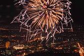 Firework over Chaophraya river Bangkok on Father's day,Bangkok — Stock Photo