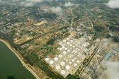 Aerial view of storage oil tanks in Thailand. — Stock Photo