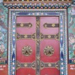 A Door of temple near Boudhanath buddhist stupa in Kathmandu cap — Stock Photo #25388043